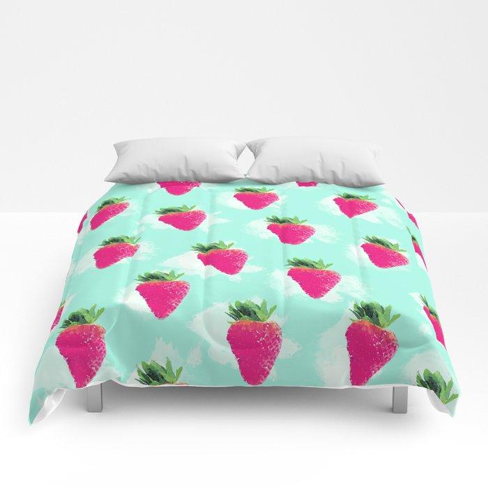 Watercolor Strawberry Comforters