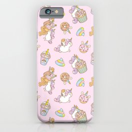 Bubu and Moonch, kawaii Guinea pig and unicorn pattern in pink  iPhone Case