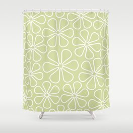 Abstract Flower Outlines White on Lime Shower Curtain