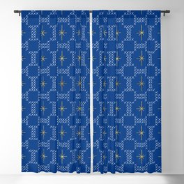 Gold Star Embroidery - INDIGO Blackout Curtain