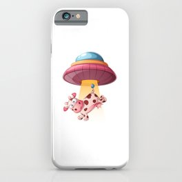 Funny Cow Is being Kidnapped By UFO iPhone Case