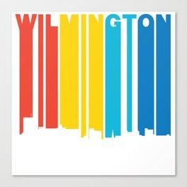 Retro 1970's Style Wilmington North Carolina Skyline Canvas Print
