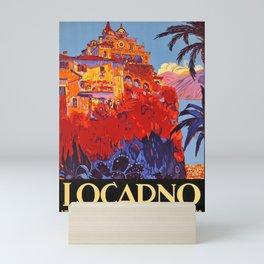 old poster locarno ville de sejour en toutes saisons couleur Mini Art Print