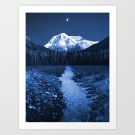 Mountain Path and Forest-Blue Art Print
