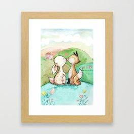 Rabbit and fox Framed Art Print