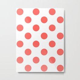 Large Polka Dots - Pastel Red on White Metal Print