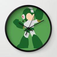 mega man Wall Clocks featuring Mega Man(Smash)Green by samaran