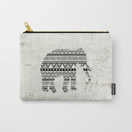 Aztec Tribal Elephant Black White Vintage Wood  Carry-All Pouch