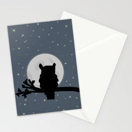 Owl and moon  Stationery Cards