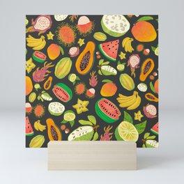 Tropical Fruits (Black) Mini Art Print