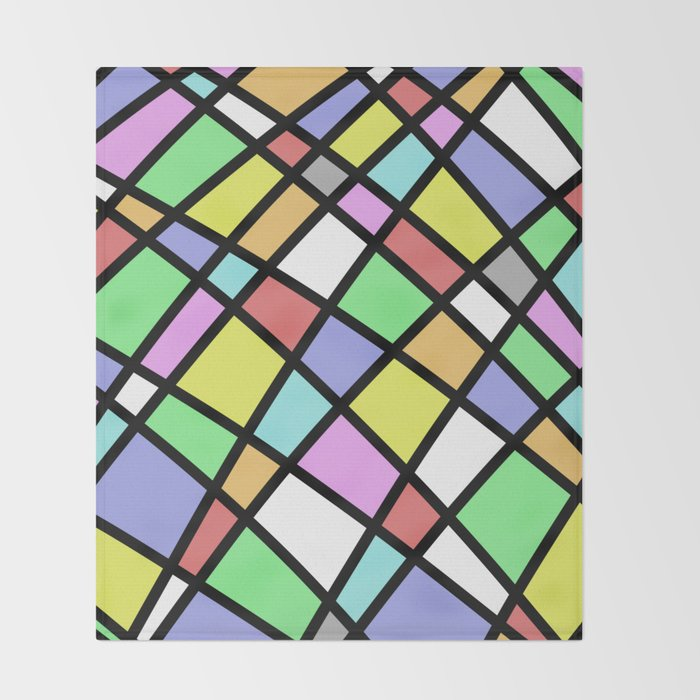 Crazy Pastel Paving - Abstract, pastel coloured mosaic paved pattern Throw Blanket