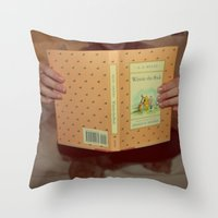 winnie the pooh Throw Pillows featuring Winnie•the•Pooh by Kearsten Taylor