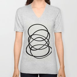 Come Together - Black and white, minimalistic, abstract, art print Unisex V-Neck