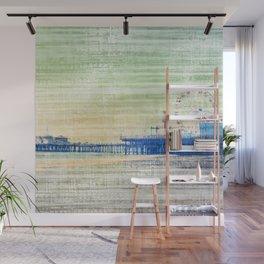 Green grey distressed Canvas effect Santa Monica Pier Wall Mural