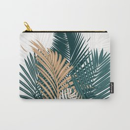 Gold and Green Palm Leaves Carry-All Pouch