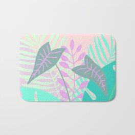 Modern tropical leaves print with monstera Bath Mat