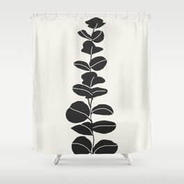 Minimal Eucalyptus Line Art Shower Curtain