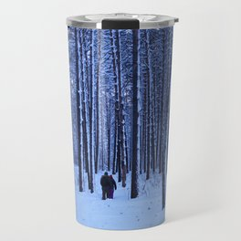 Winter pine forest in blue. Travel Mug