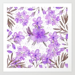 Watercolor lavender lilac brown modern floral Art Print