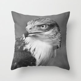 Red-tailed Hawk II BW Throw Pillow