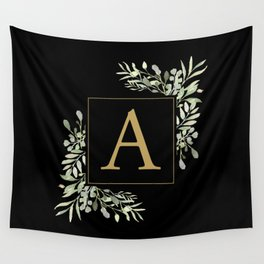 Gold Letter A Monogram Watercolor Greenery Black Wall Tapestry