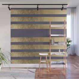 Elegant mauve purple faux gold stripes pattern Wall Mural