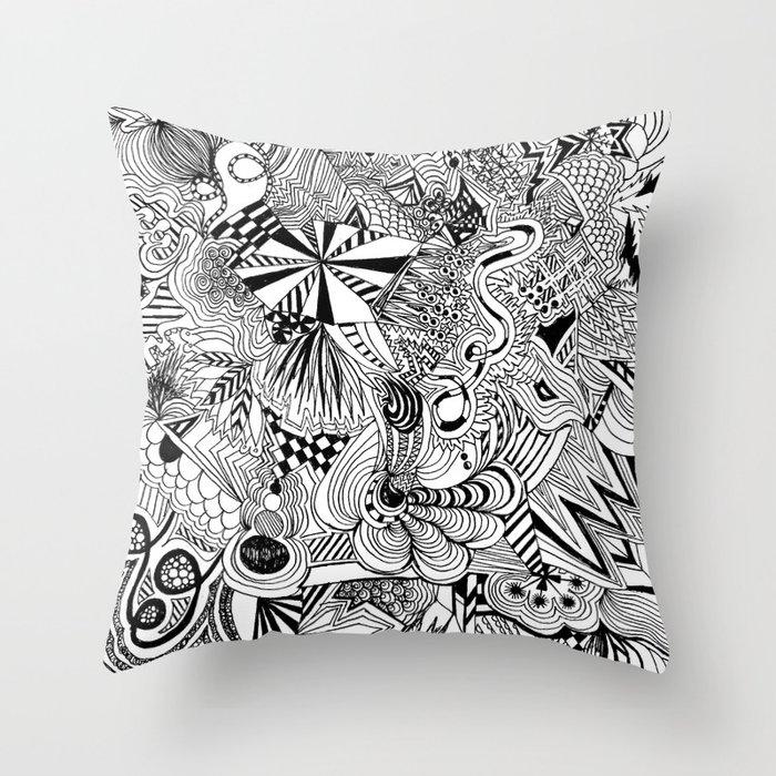 scribble me happy Throw Pillow