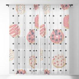 Donut Delight - Polka Dot Grid Sheer Curtain