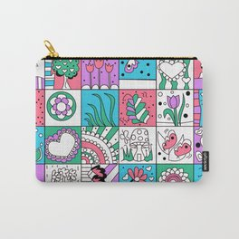 Inchies Doodle Design - Dark Pink Purple Blue - Spring Carry-All Pouch