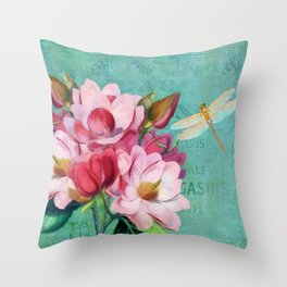 Verdigris Pink Magnolias Throw Pillow