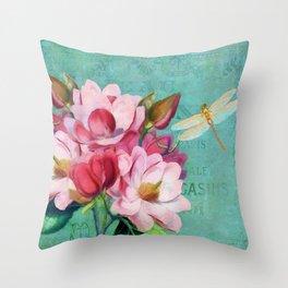Verdigris Pink Magnolias Throw Pillow