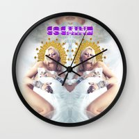 cocaine Wall Clocks featuring MILEY CYRUS COCAINE WHITE by whateverlulu