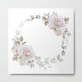 Watercolor White Rose Wreath Metal Print