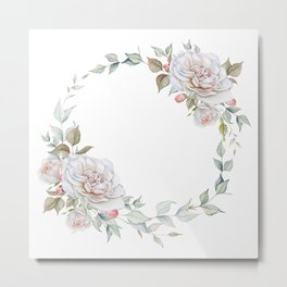 Watercolor White Rose Wreath Metal Print
