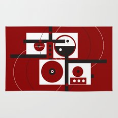 Geometric/Red-White-Black 2 Rug