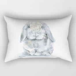 Mini Lop Gray Rabbit Watercolor Painting Rectangular Pillow