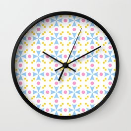 star and polka dot 5 - blue,pink and orange Wall Clock