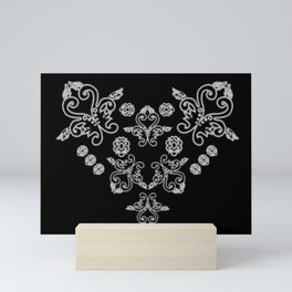 'Love' -  Heart of lace in black and white Mini Art Print