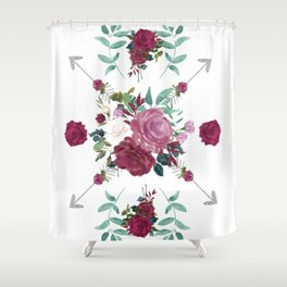Floral Pattern with Arrows Shower Curtain