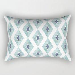 Indigo Aqua Watercolor Diamond Geometric Rectangular Pillow