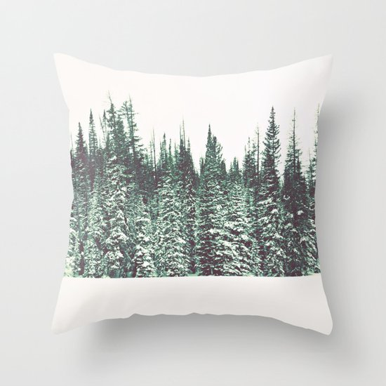 Snow on the Pines Throw Pillow