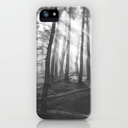 """""""Soothing Place"""" - pencil drawing of the dark forest iPhone Case"""