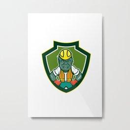 Angry Gorilla Construction Worker Shield Cartoon Metal Print