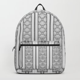 Cool Frosted Steel Grey Quilted Geometric Design Backpack
