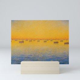 Classical Masterpiece 'Setting Sun and Boats' by Paul Signac Mini Art Print