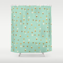 Pastel green ivory faux gold glitter abstract triangles Shower Curtain