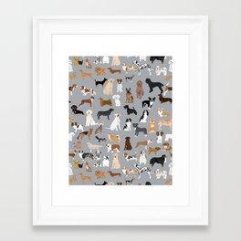 Mixed Dog lots of dogs dog lovers rescue dog art print pattern grey poodle shepherd akita corgi Framed Art Print