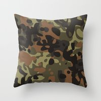 jay fleck Throw Pillows featuring Fleck Tarn Camoflauge  by Derek Boman