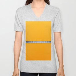 NY Taxi Cab Yellow with Black and White Check Band Unisex V-Neck