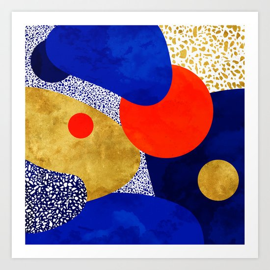Terrazzo galaxy blue night yellow gold orange by sylvaincombe
